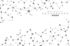 Molécula y comunicación de la estructura DNA, átomo, neuronas Concepto científico para su diseño Líneas conectadas con los puntos stock de ilustración