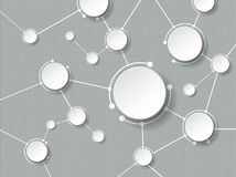 Moléculas abstractas con el círculo del papel 3d y el espacio en blanco para su contenido Imagenes de archivo
