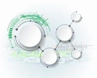 Moléculas abstractas con el círculo del papel 3d y el espacio en blanco para su contenido Foto de archivo