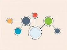 Moléculas abstractas y tecnología de comunicación con los círculos integrados con el espacio en blanco para su diseño Imagen de archivo libre de regalías