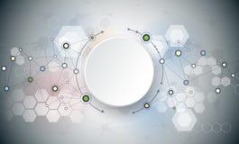 Moléculas abstratas e comunicação - conceito social da tecnologia dos meios Imagem de Stock