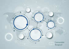 Moléculas abstratas e tecnologia de comunicação social global dos meios Fotos de Stock Royalty Free