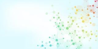 Moléculas abstratas no fundo azul macio Estruturas moleculars ou costa do ADN, rede neural, genética ilustração royalty free