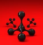 Moléculas brilhantes pretas no fundo vermelho Foto de Stock