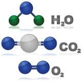 Moléculas comunes Fotografía de archivo