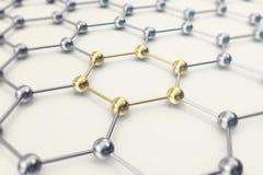 Moléculas conectadas, cristalizado en el sistema hexagonal ilustración 3D Fotografía de archivo