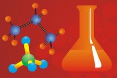Moléculas e garrafa química Imagens de Stock Royalty Free