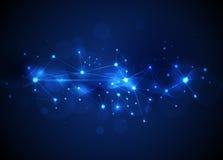 Moléculas e Mesh Lines abstratos, tecnologia de comunicação Imagem de Stock