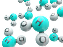 Moléculas isoladas H20 Imagens de Stock Royalty Free