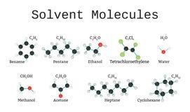 Moléculas solventes ajustadas ilustração do vetor