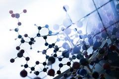 Molécule, ADN dans l'essai en laboratoire de laboratoire, chimie photos libres de droits