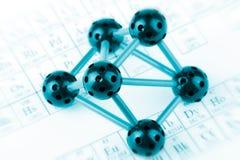 Molécule avec la table périodique Photo libre de droits