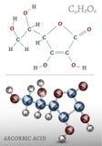 Molécule d'acide ascorbique Images stock