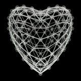 Molécule 3d en forme de coeur faite de boules en plastique brillantes colorées et tiges en verre d'isolement sur le noir Concept  Photographie stock libre de droits