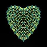 Molécule 3d en forme de coeur faite de boules en plastique brillantes colorées et tiges en verre d'isolement sur le noir Concept  Photographie stock