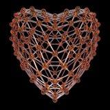 Molécule 3d en forme de coeur faite de boules en plastique brillantes colorées et tiges en verre d'isolement sur le noir Concept  Photo libre de droits