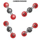molécule de bioxyde de CO2 de carbone Structure chimique Quatre vues illustration libre de droits