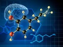 Molécule de dopamine illustration libre de droits