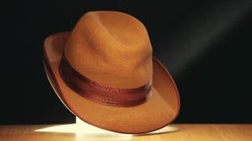 Molécule en bois de table de chapeau de vintage dynamique banque de vidéos