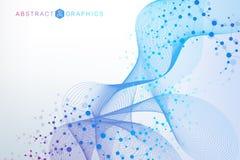 Molécule et communication de structure ADN, atome, neurones Concept scientifique pour votre conception Lignes reliées avec des po Image libre de droits