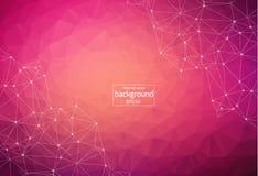 Molécule polygonale rose foncée géométrique et communication de fond Lignes reliées avec des points Fond de minimalisme Concept d illustration libre de droits