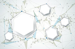 Molécules avec le papier 3D et polygonal abstraits sur le fond gris-clair de couleur Photos libres de droits
