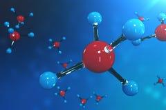 molécules du rendu 3D Bacgkround d'atomes Fond médical pour la bannière ou l'insecte Structure moléculaire à l'atomique Photo stock