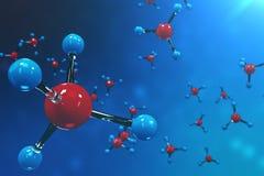 molécules du rendu 3D Bacgkround d'atomes Fond médical pour la bannière ou l'insecte Structure moléculaire à l'atomique Photographie stock