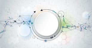 Molécules et cercles 3d de papier avec l'espace vide pour votre contenu Photo stock