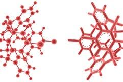 Molécules r3fléchissantes rouges sur le fond blanc Image stock