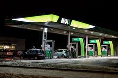 MOL benzynowej staci w nocy Zdjęcie Royalty Free