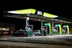 MOL gas station in the night Royalty Free Stock Photo