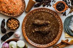 Mol Mexicano, Poblano-molingrediënten, Mexicaans kruidig voedsel traditioneel in Mexico royalty-vrije stock afbeelding
