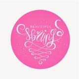 Mola bonita - rotulação da mão do vetor com os swashes elegantes colocados na mancha redonda cor-de-rosa vibrante Fotos de Stock Royalty Free
