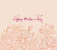 Mola brilhante feliz do dia de mães com os pássaros e as flores retros ilustração do vetor