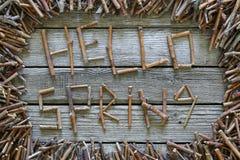 A mola da inscrição olá! com as varas de madeira no fundo de madeira Fotos de Stock