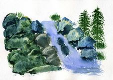 Mola da montanha da pintura da aquarela Imagens de Stock