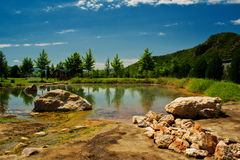 Mola e lago minerais Foto de Stock Royalty Free