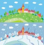 Mola e paisagem do inverno com casas e árvores. Fotografia de Stock