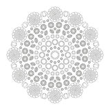 A mola engraçada da mandala circular do teste padrão floresce preto e branco - fundo floral Imagem de Stock Royalty Free