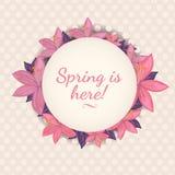 A mola está aqui ilustração Projeto de cartão floral bonito para a mola Fotografia de Stock Royalty Free