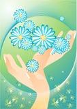 A mola está no ar. Mãos com flores. Imagens de Stock