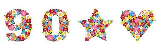 A mola floresce os NÚMEROS 90*Love Foto de Stock Royalty Free