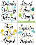 Mola, outono, inverno, verão. Mês do ano. ilustração royalty free