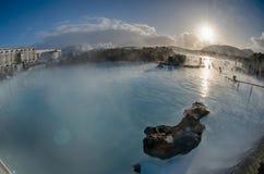 Mola quente da lagoa azul de Islândia Fotos de Stock