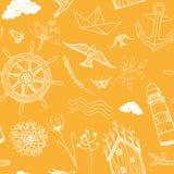 Mola, teste padrão sem emenda do curso do verão Férias do mar e da floresta Imagens de Stock Royalty Free