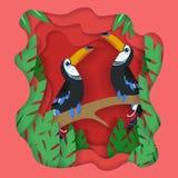 Mola vetor bonito do fundo do projeto do corte do papel do pássaro dos pares ilustração royalty free