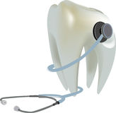 Molar tooth stethoscope. Healthy dentist molar tooth stethoscope Royalty Free Stock Photo