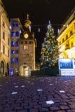Molard广场在圣诞节季节期间的晚上 库存照片