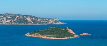 Molarotto and Molara. Panoramic view of Molarotto and Isola Molara Royalty Free Stock Photos